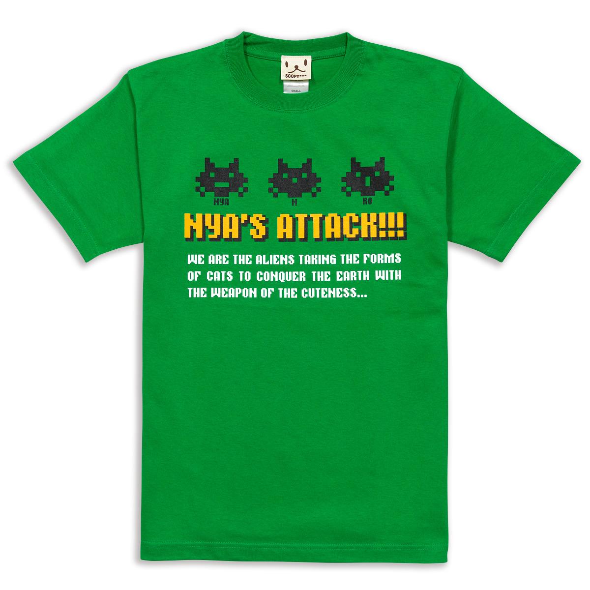 Tシャツ NYA'S ATTACK グリーン