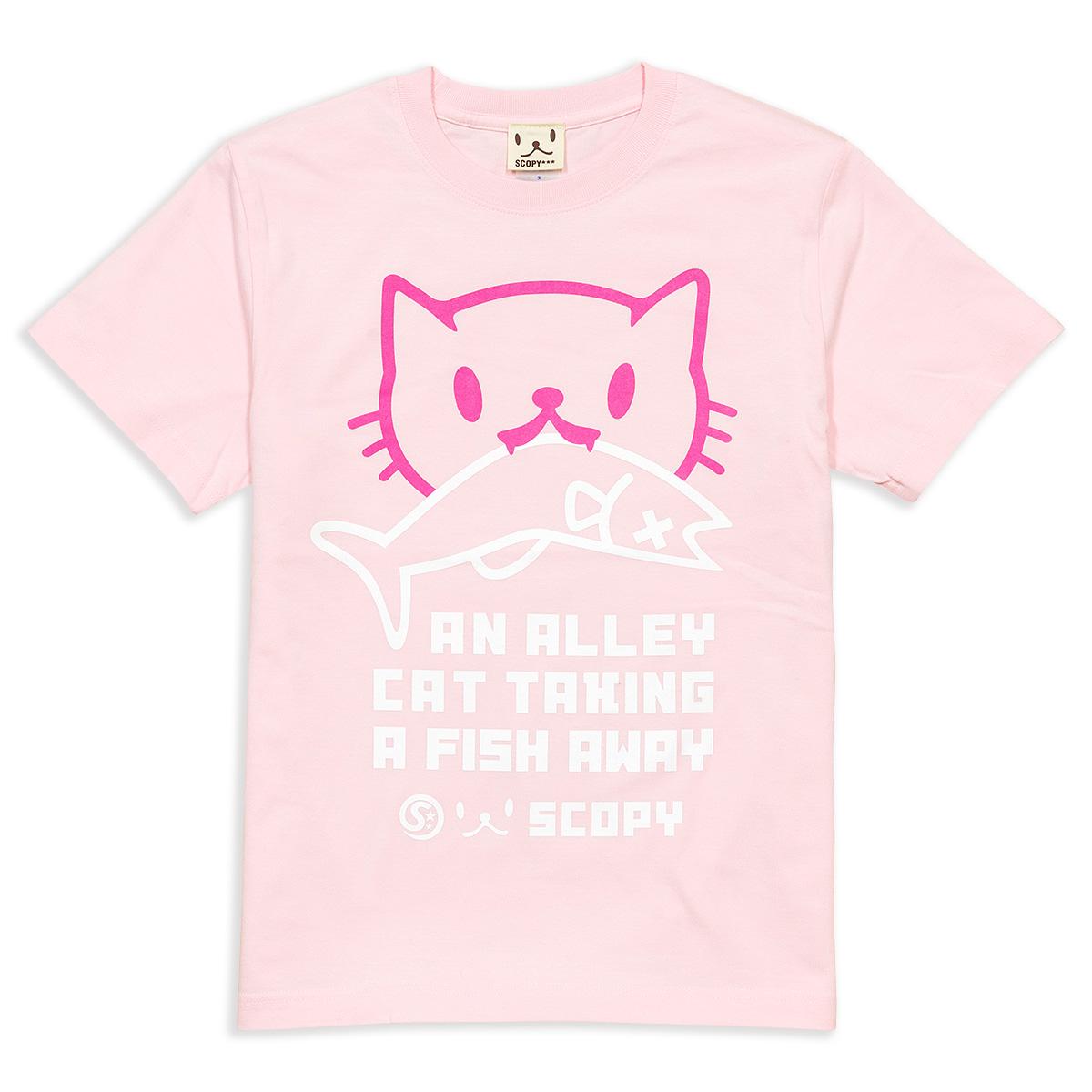 Tシャツ お魚くわえたどらねこさん ライトピンク